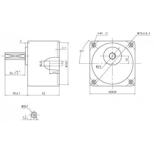 Цилиндрический Редуктор 57мм 2GN10K (1:10)