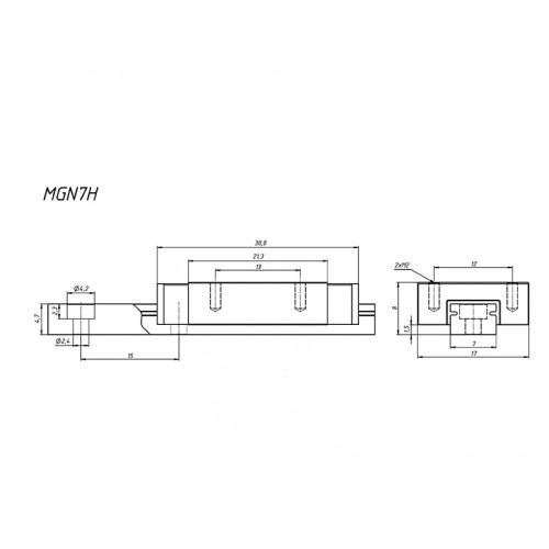 MGN7H направляющая 100 мм