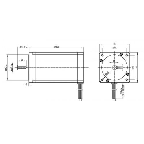 Шаговый двигатель с планетарным редуктором 86HSG156-5004A(PL-10)