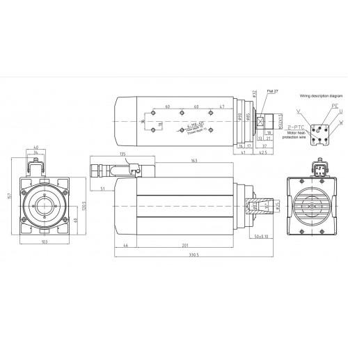 Шпиндель воздушного охлаждения GDF60-18Z воздух 4,5кВт 380В ER32