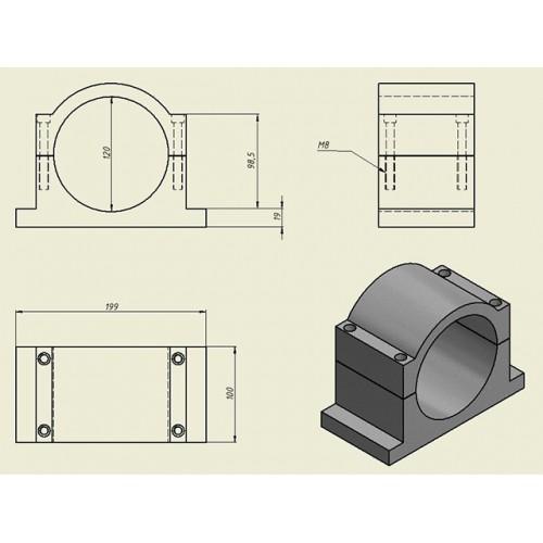 Кронштейн (держатель) для шпинделя 120 мм