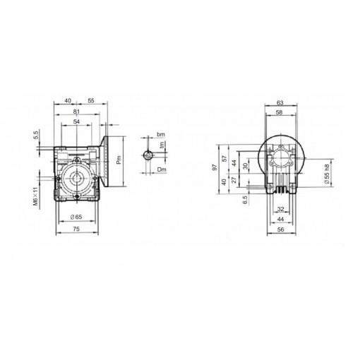 Червячный Редуктор 57мм NMRV-30 (1:50)