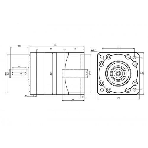 Планетарный редуктор PLF-120-5-S2-P2